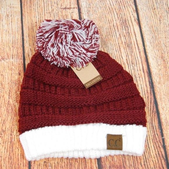 C.C Beanie Two-Tone Hat Cap w Pom Alabama ad4033f32cd
